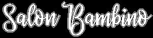Salon Bambino Logo in White. Family friendly hair salon in Woodbury