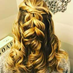 Beautiful loose braid on blonde haired woman